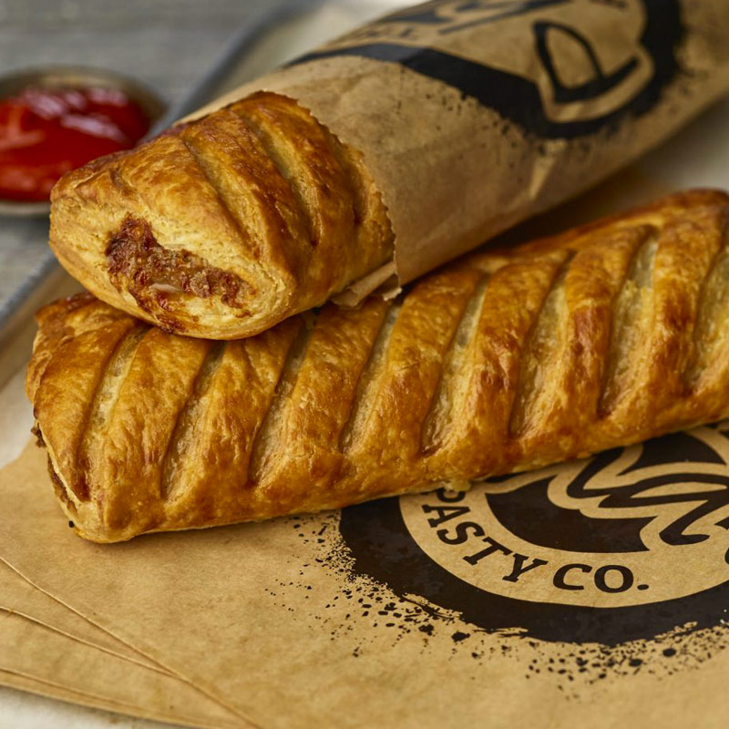 pasties by post christmas sausage roll close up