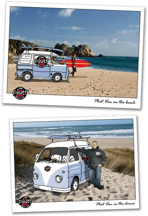 pies and cornish pasties vw camper on beach