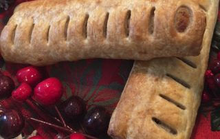 Phat pasty christmas sausage roll close up
